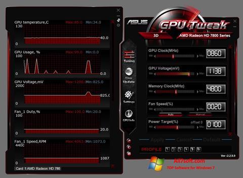 Capture d'écran ASUS GPU Tweak pour Windows 7