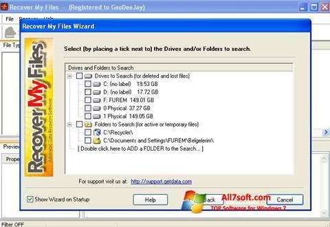 Capture d'écran Recover My Files pour Windows 7