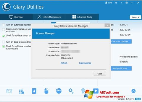 Capture d'écran Glary Utilities pour Windows 7