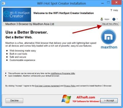 Capture d'écran Wi-Fi HotSpot Creator pour Windows 7