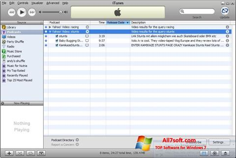 Capture d'écran iTunes pour Windows 7