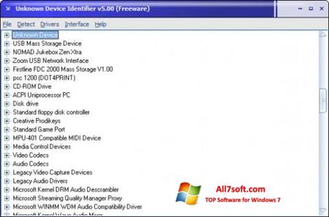 Capture d'écran Unknown Device Identifier pour Windows 7