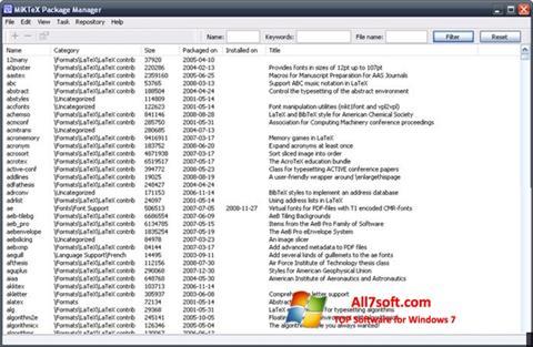 Capture d'écran MiKTeX pour Windows 7