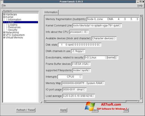 Capture d'écran PowerTweak pour Windows 7