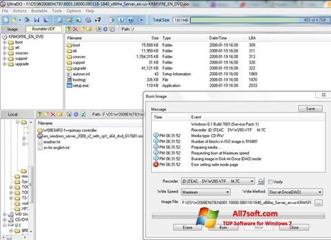 Capture d'écran UltraISO pour Windows 7