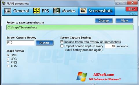 Capture d'écran Fraps pour Windows 7