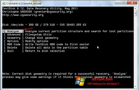 Capture d'écran TestDisk pour Windows 7
