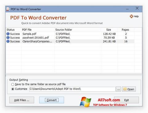 Capture d'écran PDF to Word Converter pour Windows 7