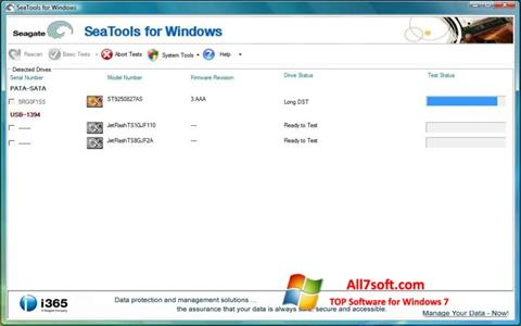 Capture d'écran Seagate SeaTools pour Windows 7