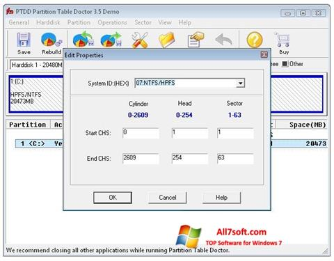 Capture d'écran Partition Table Doctor pour Windows 7