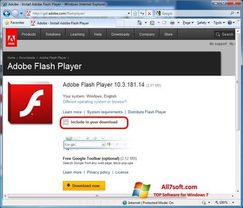 Capture d'écran Adobe Flash Player pour Windows 7