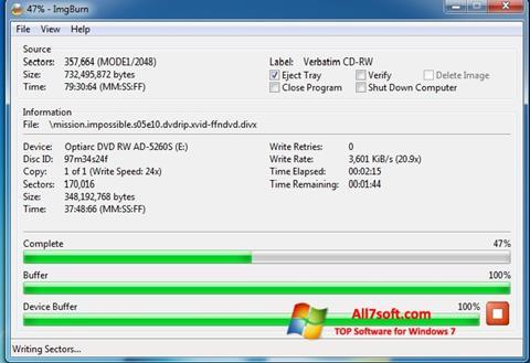 Capture d'écran ImgBurn pour Windows 7