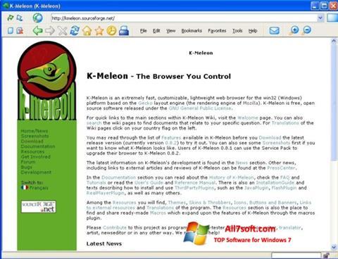 Capture d'écran K-Meleon pour Windows 7