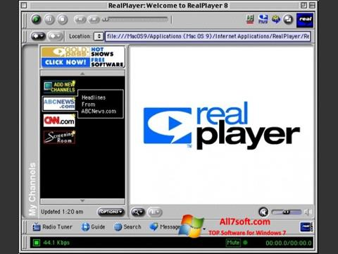 Capture d'écran RealPlayer pour Windows 7