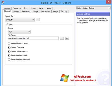 Capture d'écran BullZip PDF Printer pour Windows 7