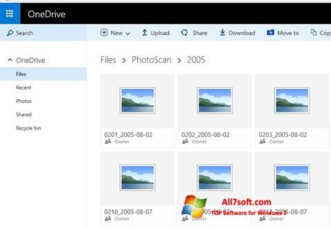 Capture d'écran OneDrive pour Windows 7