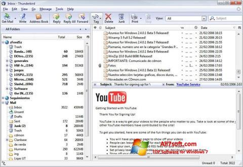 Capture d'écran Mozilla Thunderbird pour Windows 7