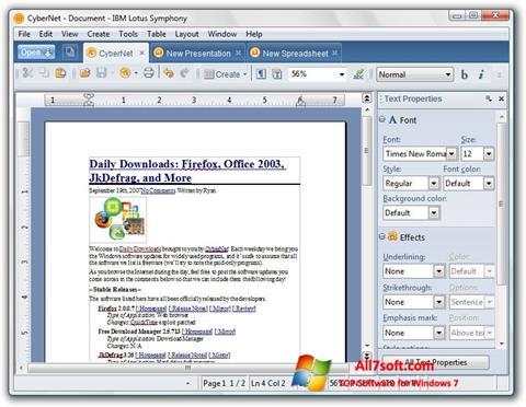 Capture d'écran Lotus Symphony pour Windows 7