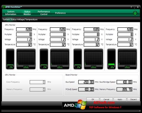 Capture d'écran AMD Overdrive pour Windows 7