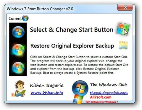 Capture d'écran Windows 7 Start Button Changer pour Windows 7